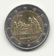 2 Euro, 2014, Niedersachsen, Prägestätte (J), Vz, Gut Erhaltene Umlaufmünze - Duitsland