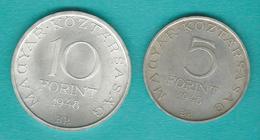 Hungary - Republic - Centenary Of 1848 Revolution - 1948 - 5 Forint - Petofi (KM537) 10 Forint - Istvan (KM538) - Hongrie
