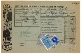 Romania, 1934, Bucharest Gas & Electricity Company, Vintage Bill / Receipt - Revenue / Fiscal Stamps / Cinderellas - Revenue Stamps
