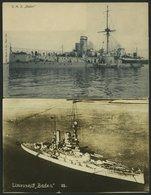ALTE POSTKARTEN - SCHIFFE KAISERL. MARINE BIS 1918 S.M.S. Baden, 2 Ungebrauchte Karten - Krieg