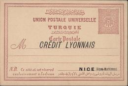 Turquie Entier Carte Postale Union Postale Universelle 20 Paras Repiquage Crédit Lyonnais Nice France + Verso Repiqué - 1858-1921 Empire Ottoman