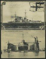 ALTE POSTKARTEN - SCHIFFE KAISERL. MARINE S.M.S. Thüringen, 2 Karten, Eine Gebraucht - Warships