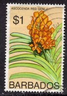 BARBADOS - 1974 $1 ORCHID STAMP WMK W12 UPRIGHT FINE USED SG 497 - Barbados (1966-...)
