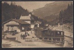 Brünig Bahnhof Buffet - Dampflok - Kutsche - Belebt - Bahn - 1912 - BE Bern
