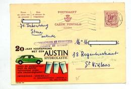 Carte Postale 2 F Lion Flamme Muette  Illustré Voiture Austin - Stamped Stationery