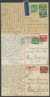 SAMMLUNGEN, LOTS 1940-1947, 6 Verschiedene Belege Ins Ausland (meist Ganzsachen In Die USA), Etwas Unterschiedlich - Sammlungen