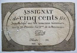 ASSIGNAT DE CINQ CENTS 500 LIV. N° 96 SERIE 2470  20 PLUVIOSE L AN 2  FEVRIER 1794 SIGNE DAVID - Assignats