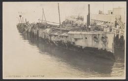 "Carte Photo - Ostende : Le Vindictive (bateau) + Texte Au Verso ""After Being Sank In Fairway At Ostende"" - Belgique"