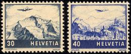 SCHWEIZ BUNDESPOST 506/7 *, 1948, Flugzeug über Landschaften, Falzrest, Pracht - 1854-1862 Helvetia (Imperforates)
