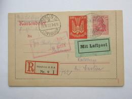 1922 , Ganzsache Als Einschreiben Aus Berlin Nach Kalkberge - Deutschland