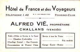Note Hôtel De France Et Des Voyageurs - Alfred Vié - Challans (Vendée) - Années 30 - Francia