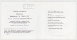 Doodsprentje Henriette De Bruyker. °Vurste, +Wetteren. Wed. Keerstock. - Obituary Notices
