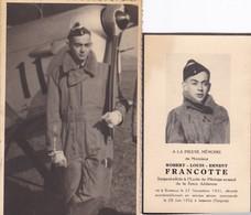 Souvenir RF Pilote Avion Soldat Armée Militaire Belge De Bressoux Dcd Accident 1952 Tongres + Photo Carte - Documenti