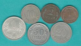 Hungary - Regency  1 (1938), 2 (1927), 10 (1927), 20 (1925) & 50 Fillér (1938) & 1 Pengö (1938) (KMs 505-510) - Hongrie