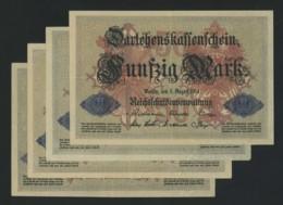50 Mark 1914 . 4 Billets UNC . Série G (2) , Q Et X . - [ 2] 1871-1918 : Empire Allemand