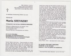 Doodsprentje Maria Steyaert. °Waarschoot, +Zelzate. Echtgen. Roegiers. - Obituary Notices