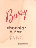 Buvard Ancien BARRY CHOCOLAT EN POUDRE - PUR CACAO - Cocoa & Chocolat
