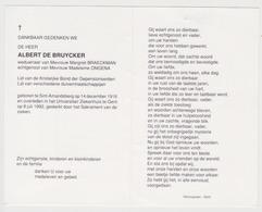 Doodsprentje Albert De Bruycker. °Sint-Amandsberg, +Gent. Wed. Braeckman, Echtgen. Ongena. - Obituary Notices