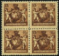 LIECHTENSTEIN 51B VB **, 1921, 13 Rp. Braun, Gezähnt L 121/2, Im Viererblock, Pracht, Mi. 120.- - Liechtenstein