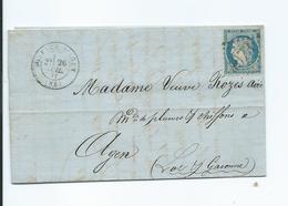 N° YT 37 Sur Lettre De Valence D'Agen Pour Agen 1871 - Marcophilie (Lettres)