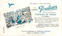 Buvard Ancien CHOCOLAT POULAIN CHANSONS DE FRANCE EN IMAGES - CHEQUE TINTIN - BLOIS - Cocoa & Chocolat