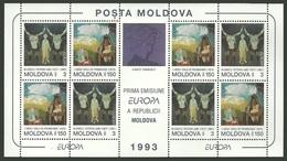MOLDOVA 1993 EUROPA ART PAINTINGS SHEEP CATTLE M/SHEET MNH - Moldova