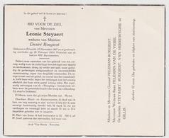 Doodsprentje Leonie Steyaert. °Ertvelde, +Ertvelde. Wed. Roegiest. - Obituary Notices