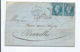 Deux N°22 Sur Lettre De Paris Pour Bruxelles 1865 Oblitération étoile - Storia Postale