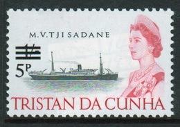 Tristan Da Cunha 1971 Single 5p Definitive Stamp From The 65 Ship Series Overprinted For Decimal. - Tristan Da Cunha