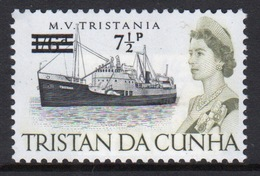 Tristan Da Cunha 1971 Single 7½p Definitive Stamp From The 65 Ship Series Overprinted For Decimal. - Tristan Da Cunha