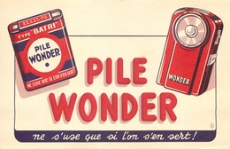 Buvard Ancien PILE WONDER - Piles