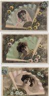 Lot De 5 Cpa Fantaisie éventail Photo Montage Reutlinger  Série 941 Actrices Femme - Spectacle