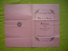 Programme Invitation 1913 Fête De La Section Des éclaireurs Saint Jean Du Gard - Scoutisme