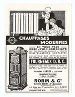 PUBLICITÉ 1931 CHAUFFAGES MODERNES ROBIN & Cie CHAUDIERES RADIATEURS POELE - 33 RUE DES TOURNELLES PARIS - Publicités