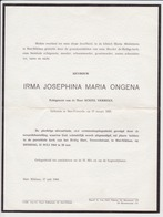 Doodsbrief Irma-Josephina-Maria Ongena. °Sint-Pauwels, +Sint-Niklaas. Echtgen. Verbeke. - Obituary Notices