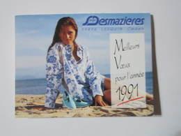 1991 PETIT CALENDRIER EN 2 VOLETS Serge DESMAZIERES 59816 LESQUIN MINITEL 3614 Code DESMA - Calendriers