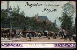 Le Matin Aux Halles Centrales - Kiosque - Calèche - Attelage - Animée - 1904 - France