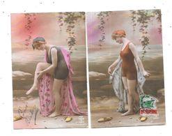 11052 - Lot De 2 CPA Fantaisie, Femmes Baigneuses, - Donne