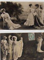 Lot De 5 Cpa Fantaisie Sépia Paysage  Photo Montage Reutlinger   Actrices Dont Otéro,... Femme. - Spectacle