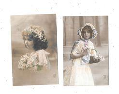 11054 - Lot De 2 CPA Fantaisie, Petites Filles Portrait - Portraits
