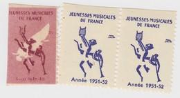 3 VIGNETTES. JEUNESSES MUSICALES DE FRANCE 1948-1952 - Commemorative Labels