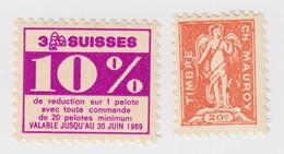 2 VIGNETTES. 3 SUISSES + MAUROY - Commemorative Labels