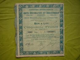 2 Bon à Lot Exposition Coloniale Internationale Arts Décoratifs Paris 1925  50 Francs Au Porteur - Afrique