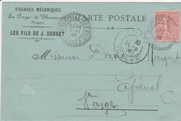 THUNIMONT : (88) Carte Publicitaire Tissages Mécanique La Forge De Thunimont LES FILS DE J. DORGET - France