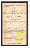 DP Conrard Titeca ° Wijtschate Heuvelland 1867 † Le Bizet Ploegsteert Komen-Waasten 1933 X Victorine Plamont - Images Religieuses