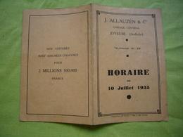 Horaires De Train 1935 Alès Montélimar Pub Allauzen & Cie Joyeuse Ardèche - Europe