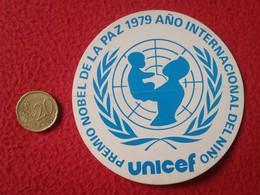 SPAIN PEGATINA ADHESIVO OLD STICKER PREMIO NOBEL DE LA PAZ 1979 UNICEF AÑO INTERNACIONAL DEL NIÑO YEAR ONU CHILDREN VER - Pegatinas
