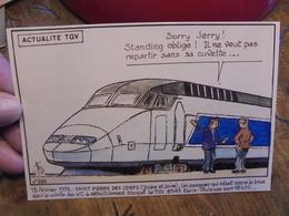 TGV  Actualité 1993 Passager Coincé Bras Cuvette De WC Saint Pierre Des Corps  Illustrateur NEMOZ - Trains