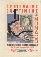 CENTENAIRE DU PREMIER TIMBRE DE MONACO. EXPOSITION DU 8 DECEMBRE 1985 - Commemorative Labels