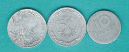 Hungary - Republic - 10 Fillér (1950 - KM530a) & 50 Fillér (1948 - KM536 & 1965 - KM551) Aluminium - Hongrie